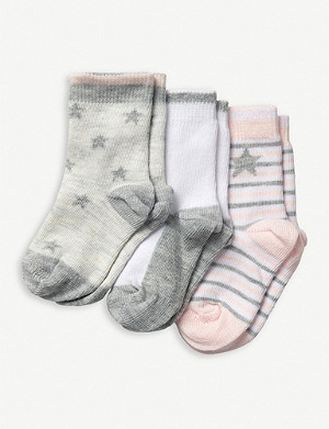 THE LITTLE WHITE COMPANY Star and stripe cotton-blend socks set of three 0-24 months