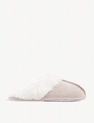 THE WHITE COMPANY: Faux fur-lined suede mule slippers