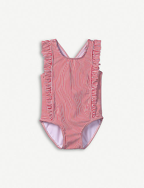 9ecbc4454 THE LITTLE WHITE COMPANY Frill-trimmed striped swimsuit 1-6 years