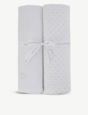THE LITTLE WHITE COMPANY Cotton swaddling blanket set of two