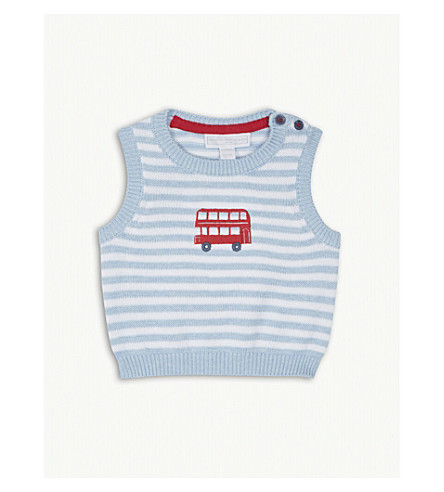 2fc10dc3d3d191 THE LITTLE WHITE COMPANY London bus knitted cotton tank top 0-24 months