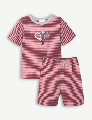 THE LITTLE WHITE COMPANY Tennis stripe cotton pyjamas 1-6 years