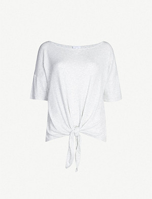 THE WHITE COMPANY Tie-front cotton T-shirt