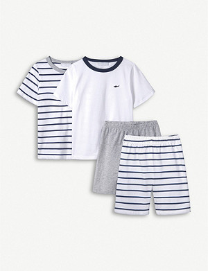 THE LITTLE WHITE COMPANY Shark-embroidered cotton pyjama set 1-6 years