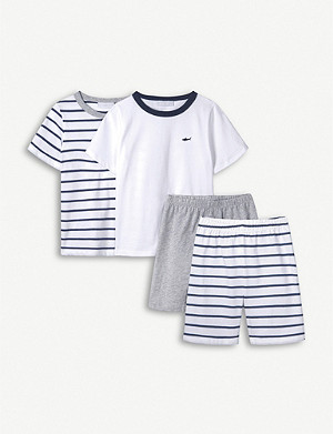 THE LITTLE WHITE COMPANY Shark-embroidered cotton pyjama set 7-12 years