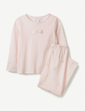 THE LITTLE WHITE COMPANY Christmas tree-print cotton pyjamas 1-6 years