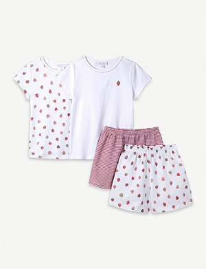 THE LITTLE WHITE COMPANY Strawberry-print pyjama set 1-6 years