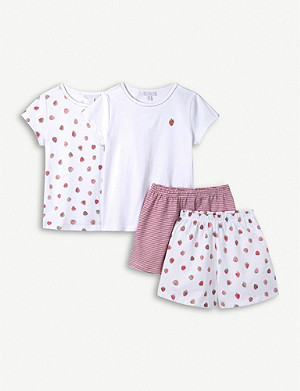 THE LITTLE WHITE COMPANY Strawberry-print pyjama set 7-12 years