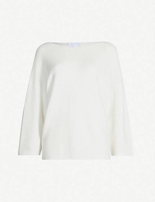 THE WHITE COMPANY Sequin-embellished cotton jumper