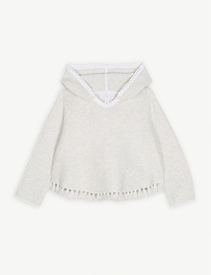 THE LITTLE WHITE COMPANY Tassel hem cotton poncho 1-6 years