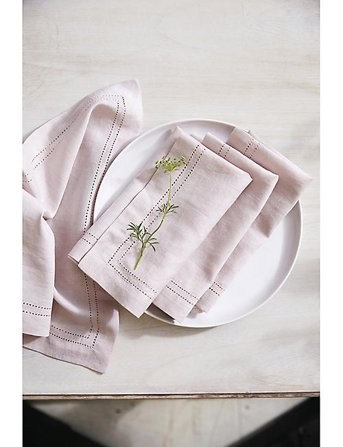 THE WHITE COMPANY Picot edge cotton-linen blend napkins set of four