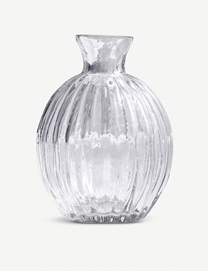 THE WHITE COMPANY Ribbed glass vase 11cm