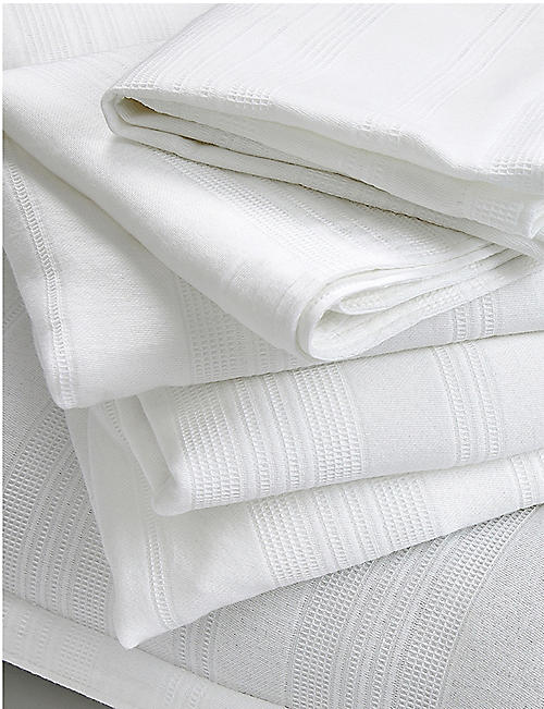 THE WHITE COMPANY Salcombe waffle textured cotton-percale king size duvet cover 225cm x 220cm
