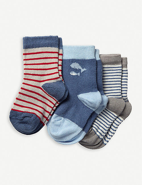 THE LITTLE WHITE COMPANY Whale and Stripe cotton-blend socks set of three