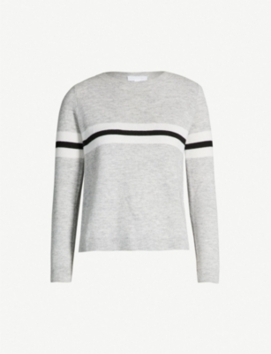 THE WHITE COMPANY Striped-detail merino-wool jumper