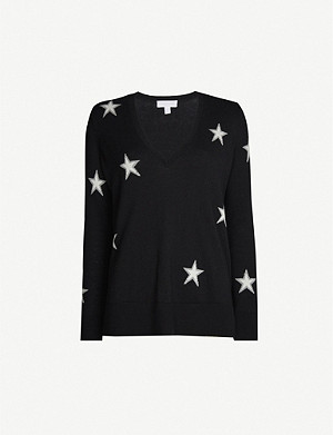 THE WHITE COMPANY Star-pattern wool and cotton-blend jumper