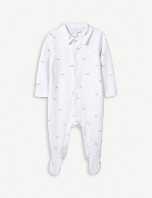 THE LITTLE WHITE COMPANY Whale-print collared cotton sleepsuit 0-24 months