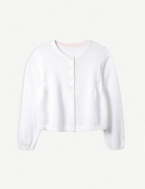 THE LITTLE WHITE COMPANY Sparkle button linen-cotton cardigan 1-6 years