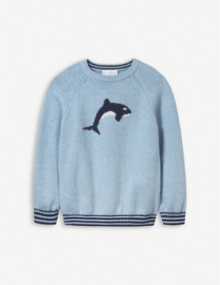 THE LITTLE WHITE COMPANY Whale cotton jumper 1-6 years