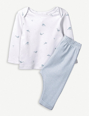 THE LITTLE WHITE COMPANY Whale and stripe cotton pyjamas 0-24 months