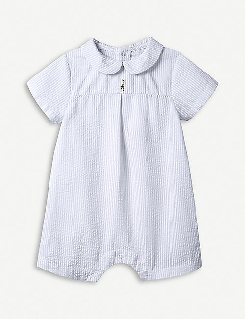 THE LITTLE WHITE COMPANY Giraffe-embroidered stripe cotton-blend romper 0-24 months