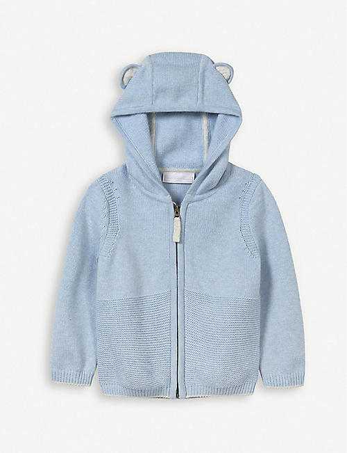 THE LITTLE WHITE COMPANY Zip-up cotton-knit cardigan 0-24 months