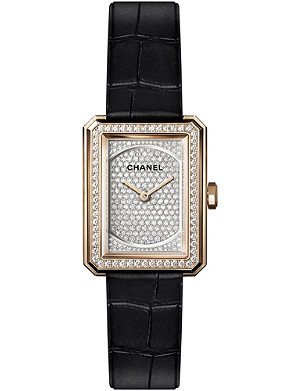 CHANEL H4880 BOY•FRIEND Paved Small Size 18ct beige gold and diamond watch