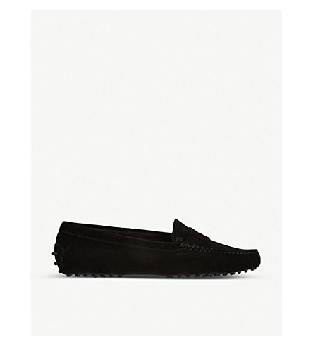Gommino Driving Shoes In Suede in Black