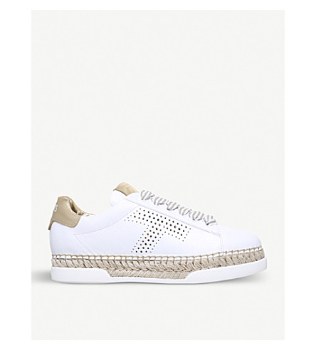b6e1453f76f TODS Flatform leather and jute trainers (White comb