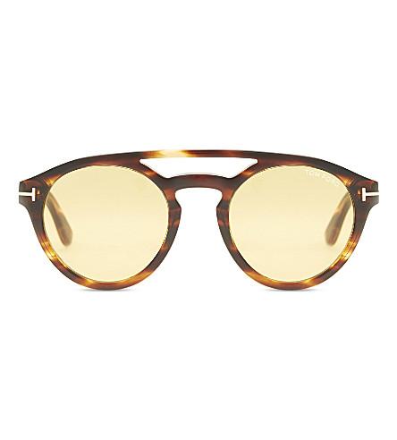 9d7b752591 TOM FORD Clint TF537 round-frame sunglasses (Brown+shiny