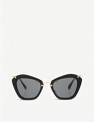 MIU MIU: MU10NS Noir cat-eye sunglasses