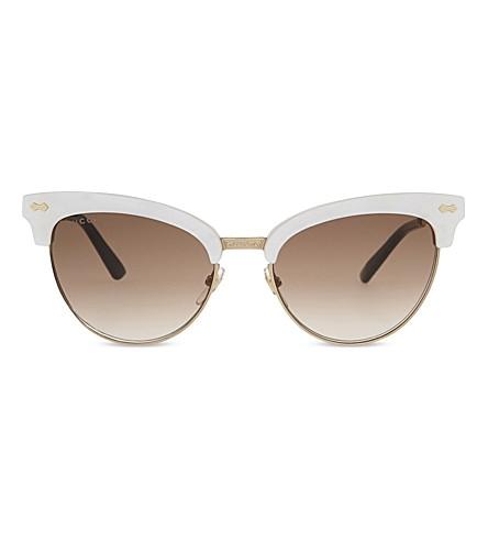 ec49b723d550c GUCCI GG4283 Cat eye-frame sunglasses (Ivory+gold