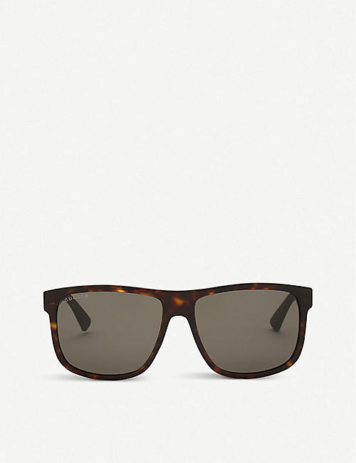 GUCCI: Gg0010 rectangle-frame sunglasses