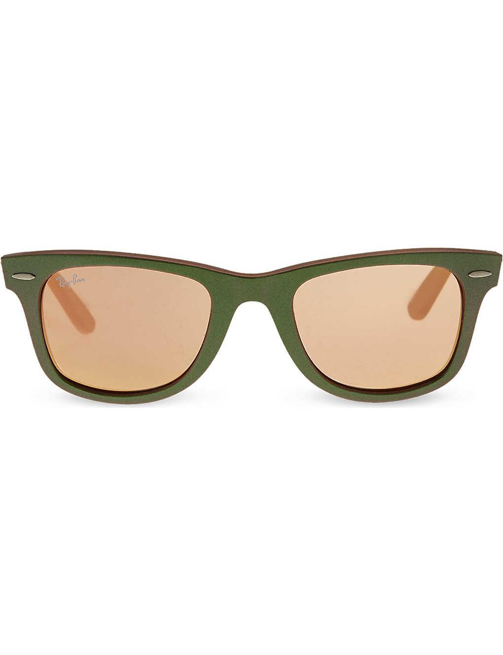 38205fe16 RAY-BAN - Green wayfarer sunglasses with mirrored lenses RB2140 ...