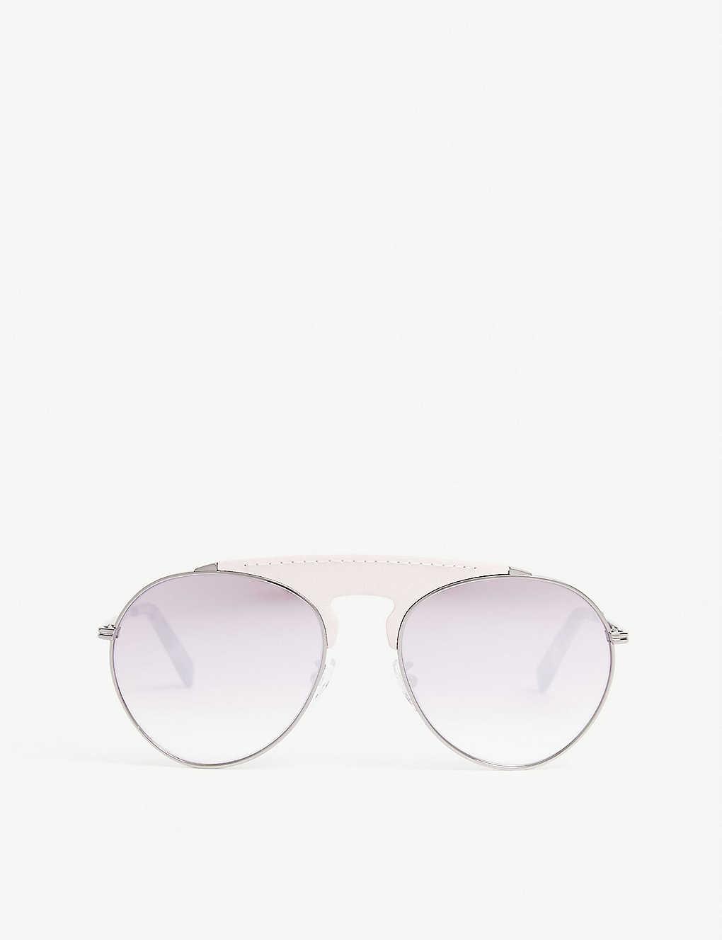 Pinko Lw40005u Leather Bridge Pilot-frame Sunglasses In Light Grey