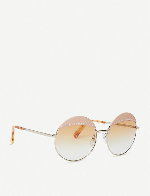 LOEWE Round-frame metal and leather sunglasses