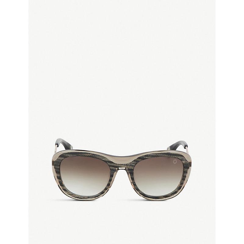 BLAKE KUWAHARA Chareau Herringbone Sunglasses in Brown Multi