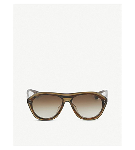 BLAKE KUWAHARA Renwick Acetate Aviator Sunglasses in Brown
