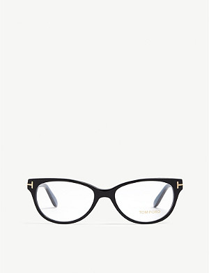 TOM FORD Havana Tf5535 rectangle-frame optical glasses