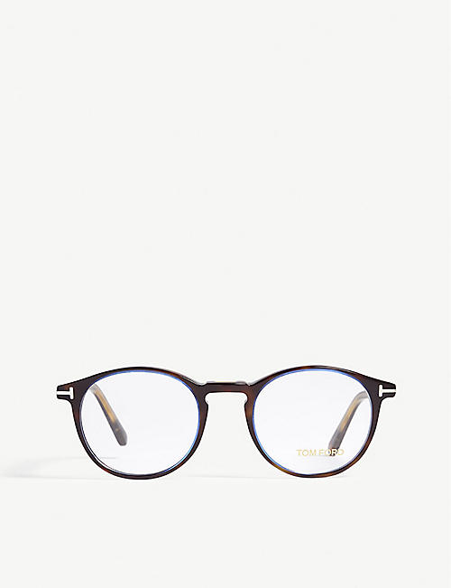 TOM FORD Tortoiseshell Tf5294 round-frame optical glasses