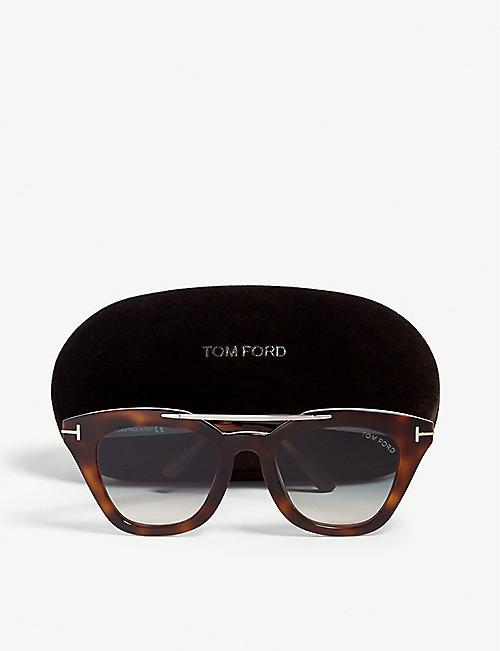 1e1143f359508 TOM FORD Anna-02 TF575 Havana cat-eye-frame sunglasses