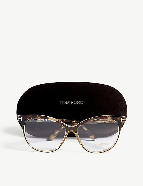 c460159f64350 TOM FORD FT5511 tortoiseshell-trim acetate glasses