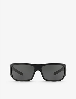 PRADA LINEA ROSSA: PS 01LS rectangular-frame acetate sunglasses