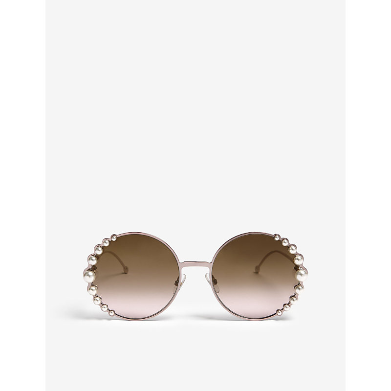 FENDI | Fendi Ladies Pink Modern Ribbons And Pearls Oversized Round-Frame Sunglasses | Goxip
