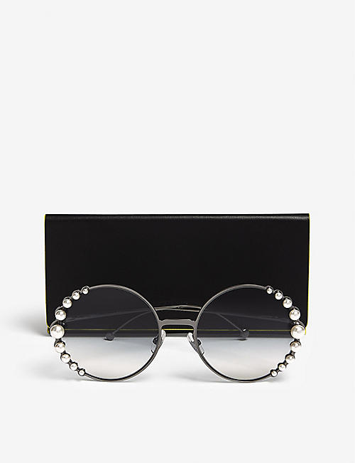 FENDI Ribbons and Pearls oversized round-frame sunglasses