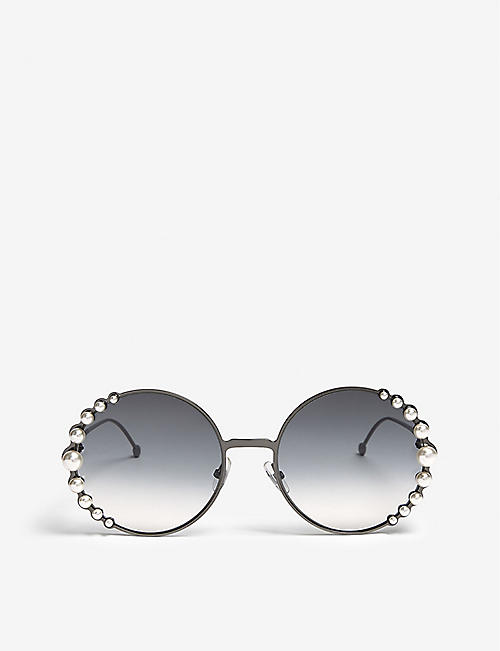 ef34b8f6824 FENDI Ribbons and Pearls oversized round-frame sunglasses