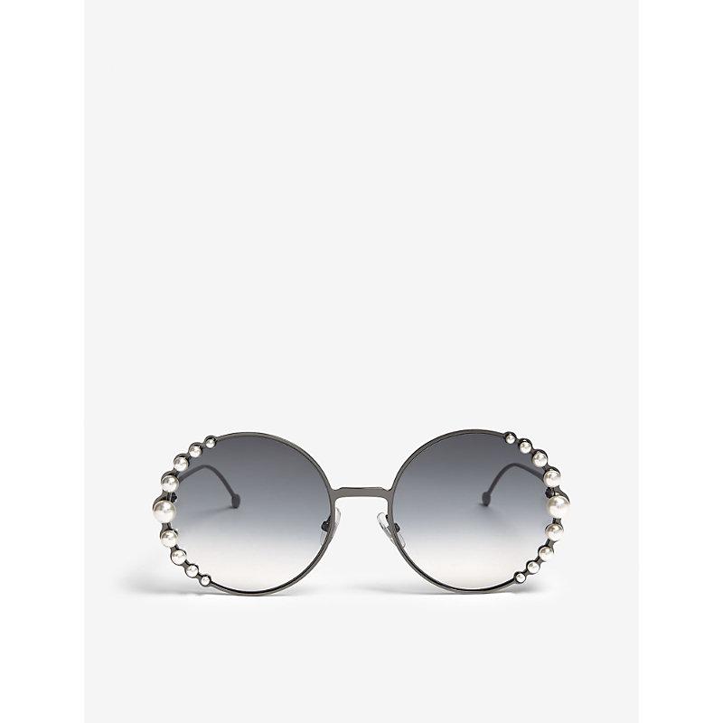 FENDI   Fendi Ladies Silver Luxury Ribbons And Pearls Oversized Round-Frame Sunglasses   Goxip