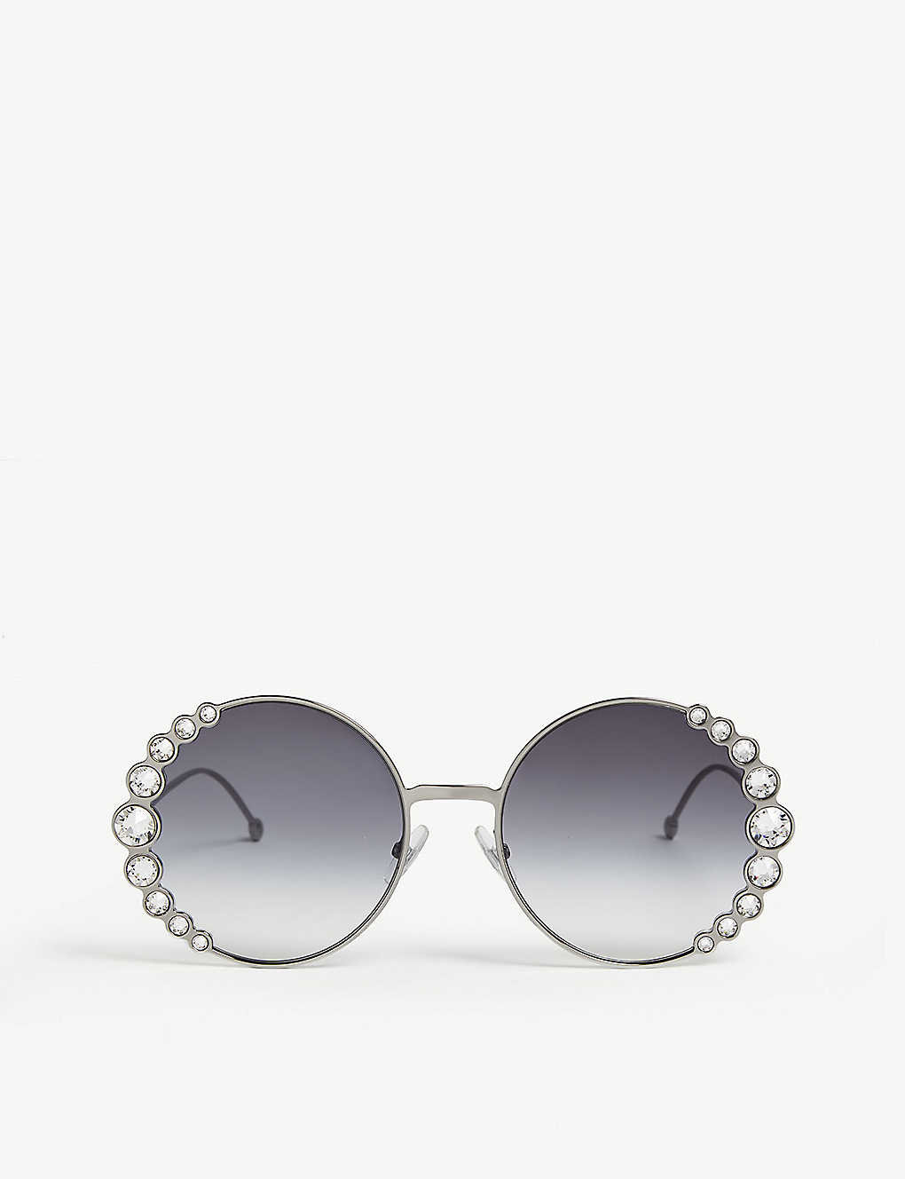 f4dd1d8bce7df FF0324 S Ribbons   Crystals round-frame sunglasses - Silver ...