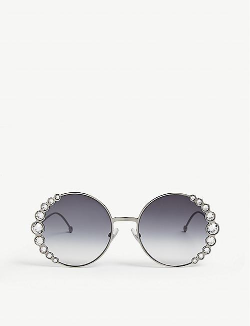 68e86003e3ba FENDI FF0324 S Ribbons   Crystals round-frame sunglasses