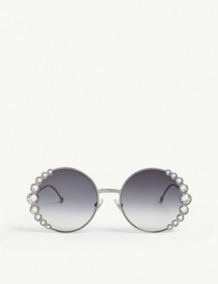 FENDI FF0324/S Ribbons & Crystals round-frame sunglasses